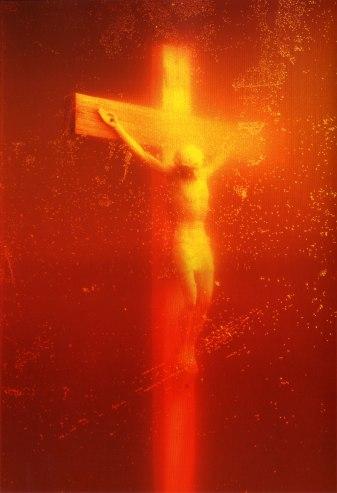 Andres Serrano, Piss Christ, 1987. Cibachrome, silicone, plexiglas, wood frame, 60 x 40 in.