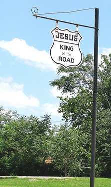 Jesus King of the Road sign