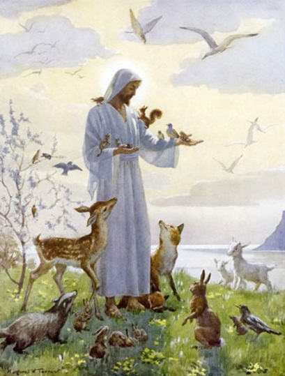 Jesus with animals