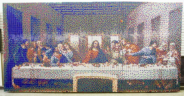 The Last Supper made out of Rubik's Cubes
