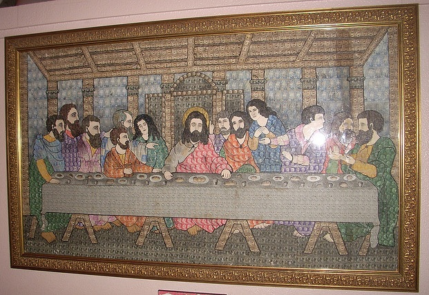 The Last Supper made out of postage stamps