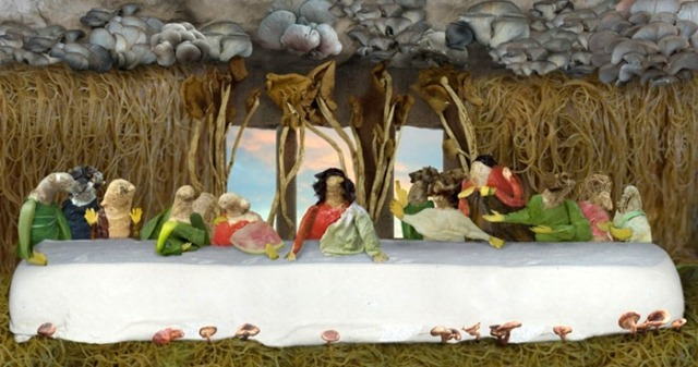 The Last Supper made out of vegetables