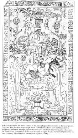 Mayan sarcophagus carving