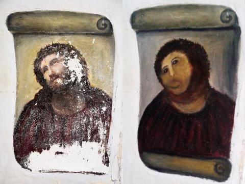 Spanish Jesus painting botched by amateur