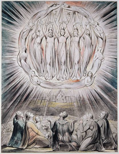 """William Blake, """"The Annunciation to the Shepherds,"""" 1809. Watercolor on paper, 19.3 x 25.5 cm. Whitworth Art Gallery, Manchester, England."""
