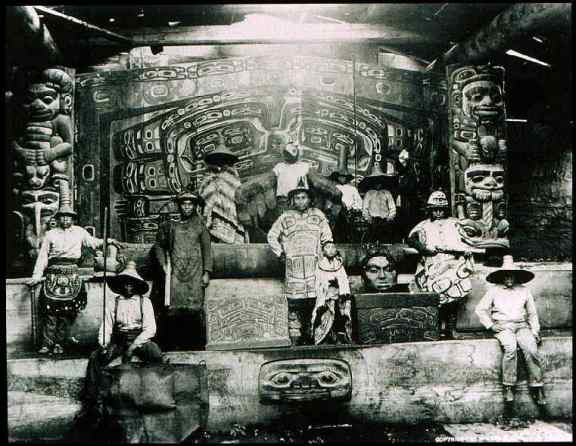Interior of Chief Klart-Reech's House (Whale House at Klukwan), Chilkat, Alaska. Photo: Alaska's State Library (Winter & Pond), 1895.