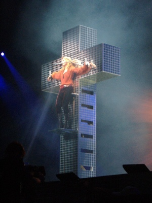 "During her 2006 Confessions tour, Madonna performed the song ""Live to Tell"" while hanging from a giant disco cross and wearing a crown of thorns."