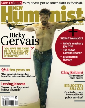 "Gervais: ""I've wanted to do this picture for about 20 years. Finally did it this week with photographer Rich Hardcastle."" After pitching the photo to Rolling Stone magazine and being rejected, Gervais shopped it to the New Humanist, who used it for their September 2011 cover."