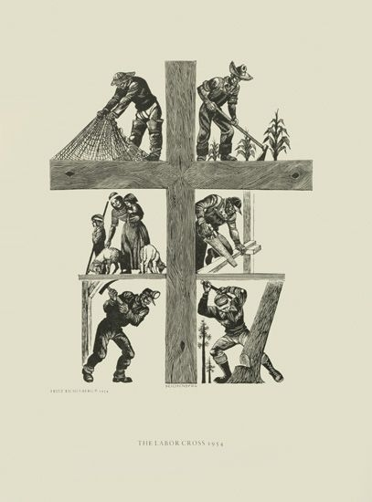 Fritz Eichenberg, The Labor Cross, 1954. Wood engraving, 16 x 12 in.