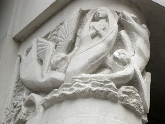 Assumption stone carving (Notre Dame de France)