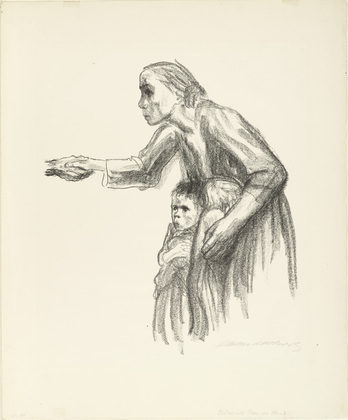 Käthe Kollwitz, Death: A Mother Stretching Her Hand Out to Death, 1934. Lithograph.
