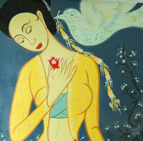 Sawai Chinnawong, Annunciation to Mary (The Dove), 2008. Acrylic on canvas.