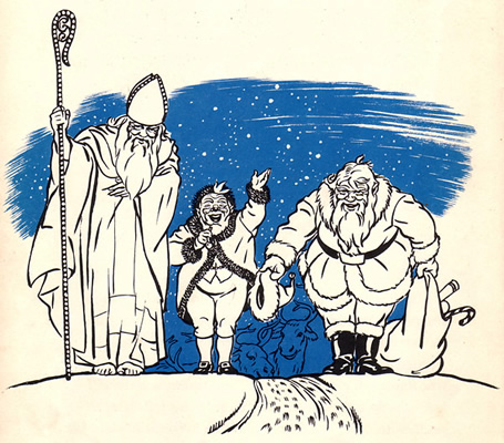 Illustration by Cyrus Leroy Baldridge depicting the evolution of the Santa Claus figure in America.