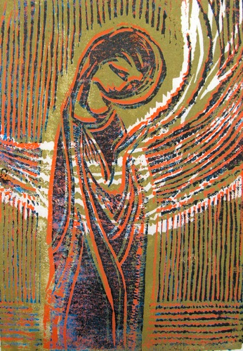 Sister Mary Grace Thul, Magnificat. Woodblock print, 14 x 17 in.