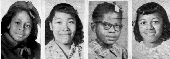 The victims of the church bombing were Denise McNair, 11; Carole Robertson, 14; Addie Mae Collins, 14; and Cynthia Dianne Wesley, 14.
