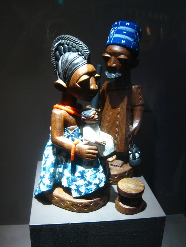 The Holy Family. Part of a crèche set carved by Yoruba artist Joseph Imale in 1974, with beadwork by Jimoh Adetoye. Collection of the SMA African Art Museum. To view the full set, see page 2 of theSMA sculpture guide.