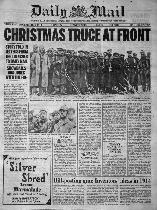 Dail Mail coverage of Christmas Truce