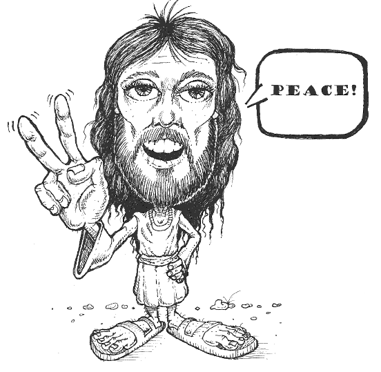 Jesus giving the peace sign