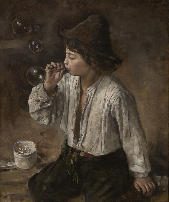 Hans Heyerdahl (Norwegian, 1897-1913), Boy Blowing Bubbles, 1882. Oil on canvas.