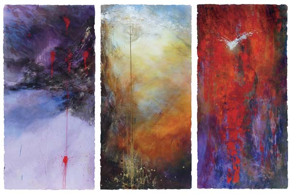 Linda McCray, Passion to Pentecost, 2007. Acrylic paint and sand from Jerusalem on floating wood panels, 6 x 9.5 ft.