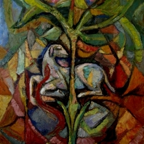 Jyoti Sahi, Lamb and the Tree, 2008. Oil on canvas, 30 x 24 in. Accessed Jan. 5, 2014, at http://www.orchidartindia.com/viewgallery.php?id=22#, but now see http://jyotiartashram.blogspot.com/2010/10/divine-incarnation-into-world-of.html