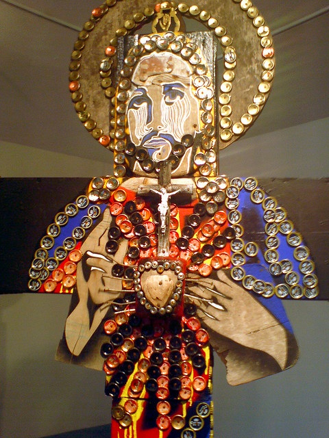 Sacred Heart made of bottle caps