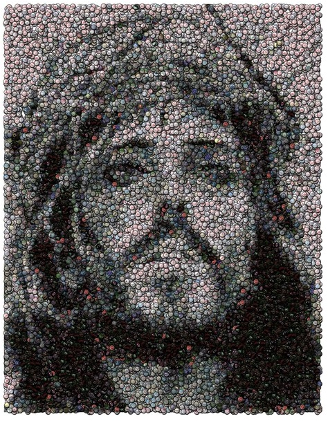 Jesus mosaic made of bottle caps
