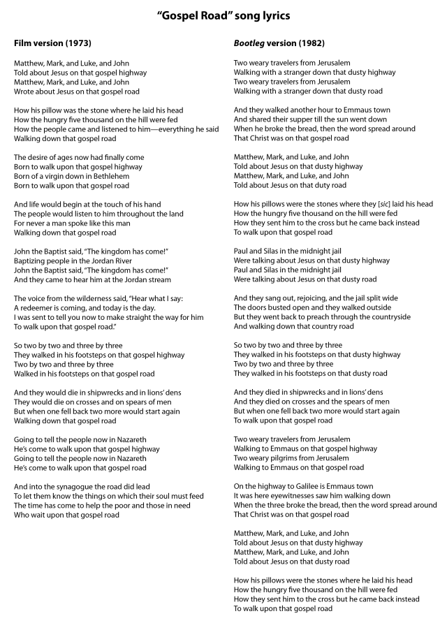 Gospel Road song lyrics