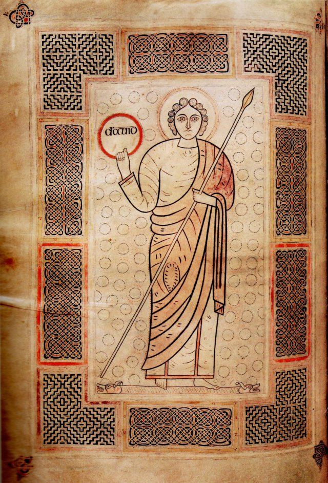 "Cassiodorus's ""Commentary on the Psalms"": Christ/David, second quarter of the 8th century. 42 x 29.5 cm (Durham Cathedral Library, MS B.ii.30, fol. 172v)."
