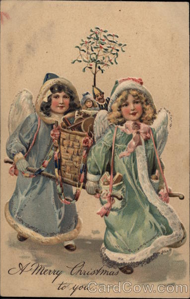 Two Christkindl delivering toys