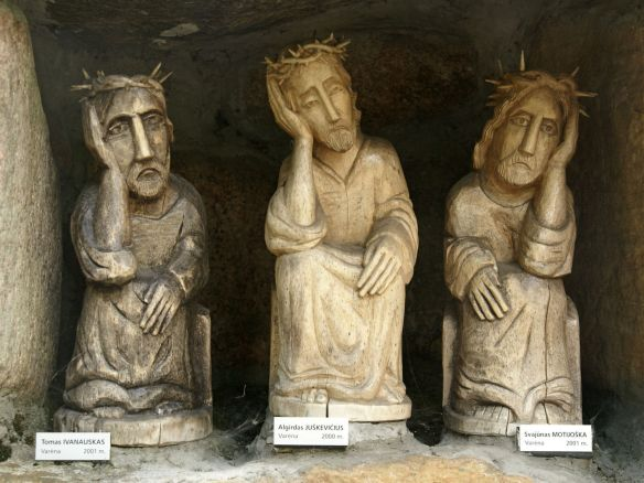 Pensive Christ  Polish folk sculpture Folk Art wood painted signed